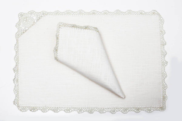 off-white handmade crochet place mat set