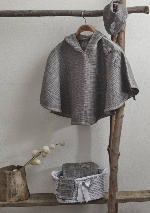 Organic Cotton Poncho Set-Grey - Letters From Bosphorus