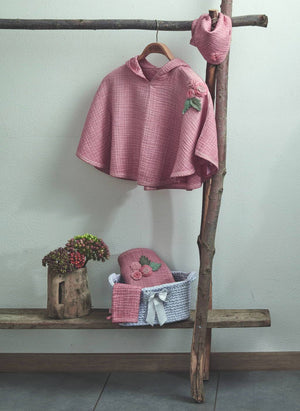 Organic Cotton Poncho Set-Pink
