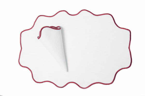 red wavy place mat set