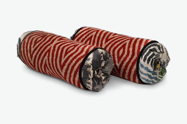 Red Diamond Neckroll Bolster Pillow - Letters From Bosphorus