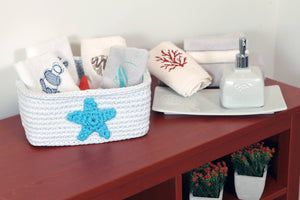 star bathroom basket towel set