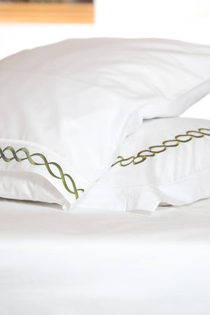 Twisted Mania Olive Green Organic Cotton Sheet Set - Letters From Bosphorus