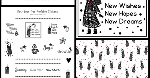 Free New Year Stickers, Digital Paper and Dash Decoration.