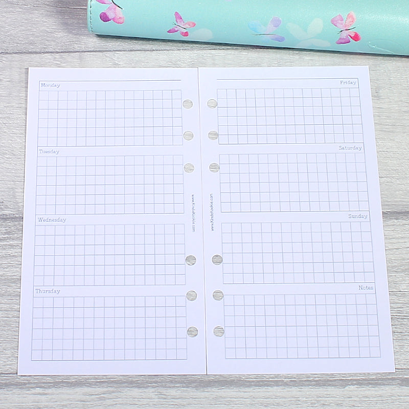 Week on Two Pages Squared Horizontal Personal Size Planner Inserts by KindaKookie