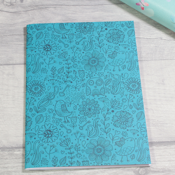 3 card tarot spread notebook or tn inserts B6 size blue doodles by KindaKookie