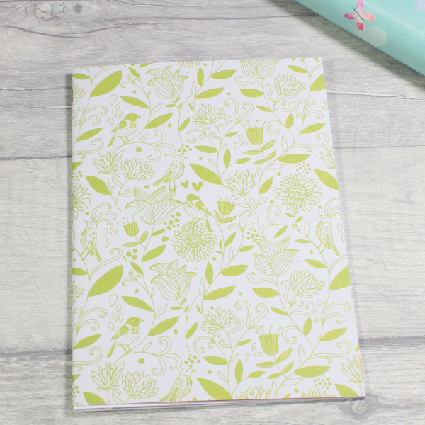 3 card tarot spread notebook or tn inserts B6 size green vines birds flowers by KindaKookie