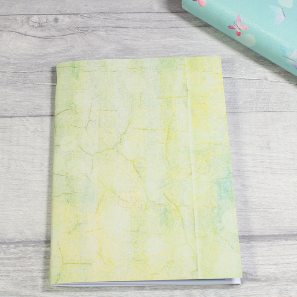 3 card tarot spread notebook or tn inserts B6 size yellow green crackle by KindaKookie