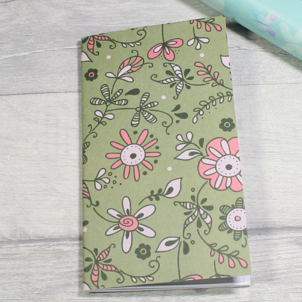 3 card tarot spread notebook tn insert personal size green flower flourish by KindaKookie