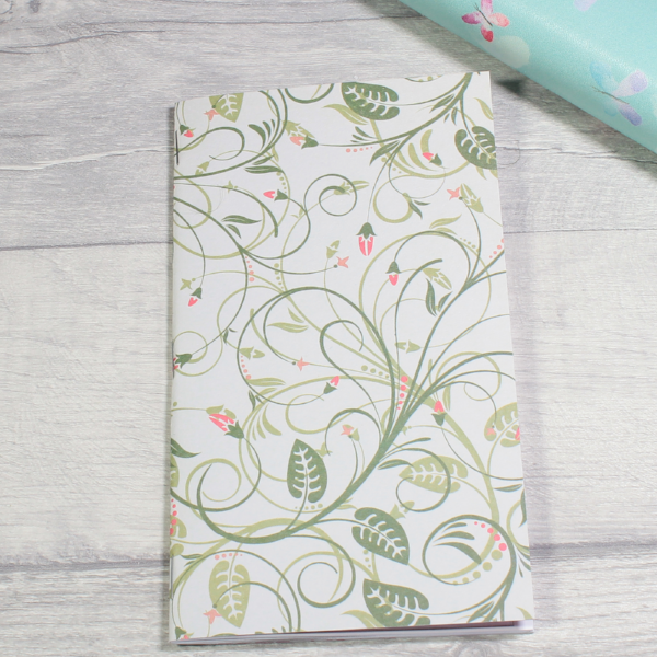 3 card tarot spread notebook tn insert personal size green vines and flowers by KindaKookie