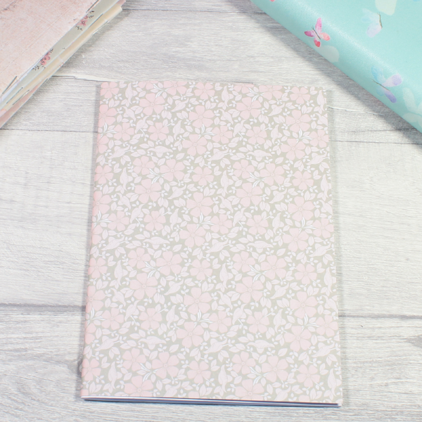 Rune Reading Journal Notebook Diary pagan planner tn insert B6 grey small pink flower by KindaKookie