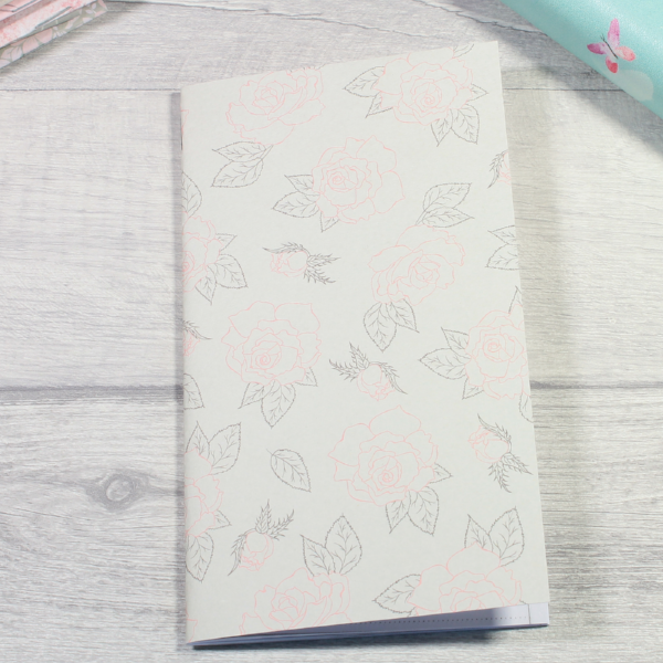 Rune Reading Journal Notebook Diary pagan planner tn insert personal size cream pink grey roses by KindaKookie