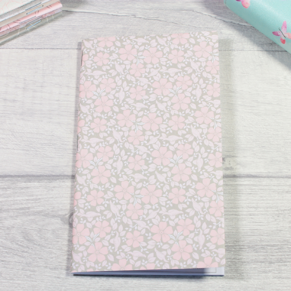 Rune Reading Journal Notebook Diary pagan planner tn insert personal size grey small pink flowers by KindaKookie
