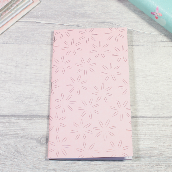 Rune Reading Journal Notebook Diary pagan planner tn insert personal size pink with bold grey flowers by KindaKookie