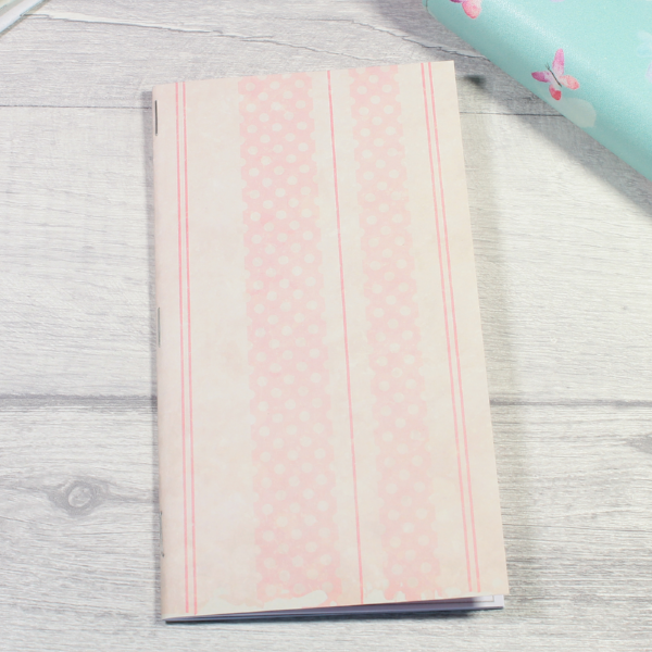 Rune Reading Journal Notebook Diary pagan planner tn insert personal size pink stripes and dots by KindaKookie