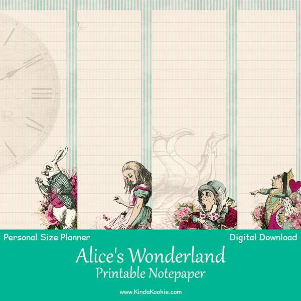 photo relating to Alice in Wonderland Printable named Alices Wonderland Notepaper Individual Rings Planner Printable Inserts
