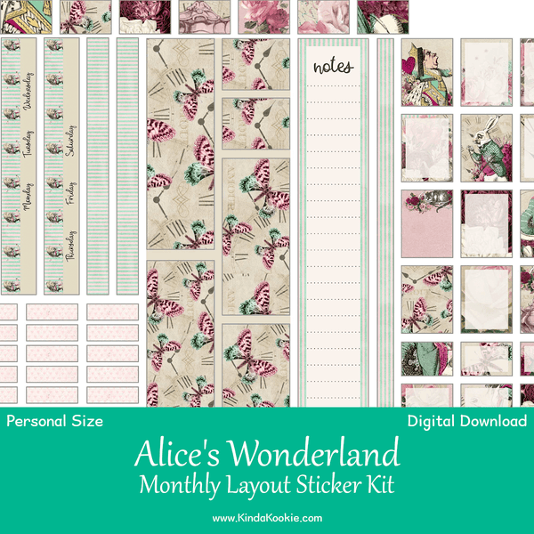Alice in Wonderland Personal Planner Monthly Layout Printable Sticker Kit by KindaKookie