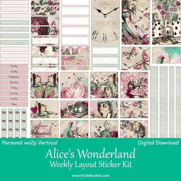 photo relating to Printable Sticker named Alices Wonderland Particular person Planner WO2P Vertical Weekly Printable Sticker Package