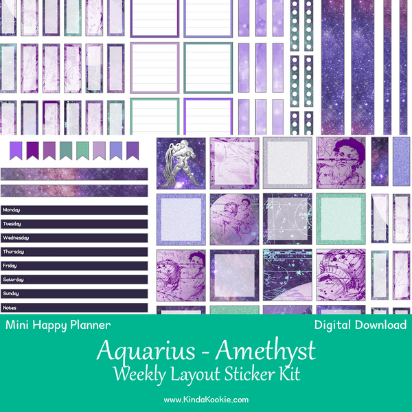 Aquarius Amethyst Astrology Zodiac Mini Happy Planner Weekly Layout Printable Sticker Kit