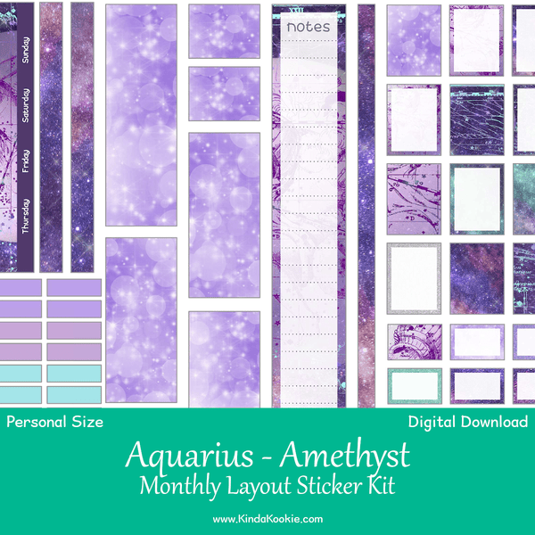 Aquarius Amethyst Astrology Personal Planner Monthly Printable Sticker Kit