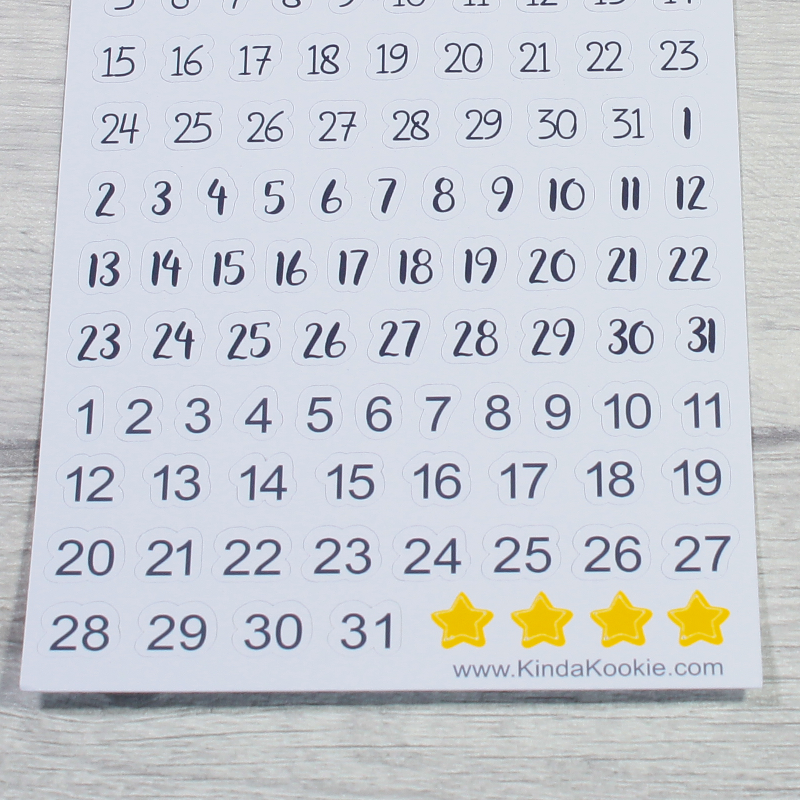 Monthly Numbers Office and Planner Stationery by KindaKookie