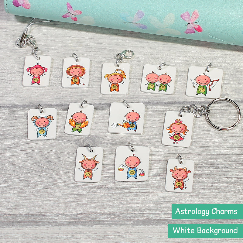Cute Astrology Kids Planner Charms, Keyrings and Decorative Dangles by KindaKookie