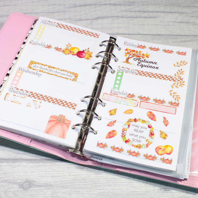 Planner Layout Autumn Harvest Journal Diary Planner Stickers by KindaKookie