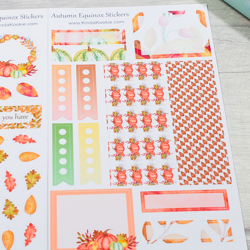 Autumn Leaves Pumpkins Holiday Journal Diary Planner Stickers by KindaKookie