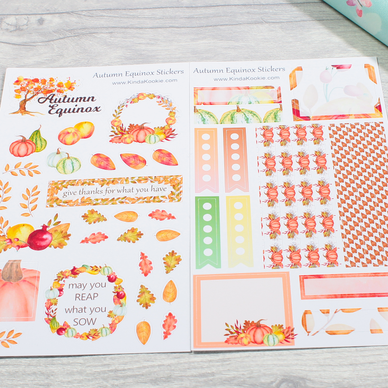 Autumn Equinox Mabon Harvest Festival Thanksgiving Pagan Holiday Notebook Planner Stickers by KindaKookie
