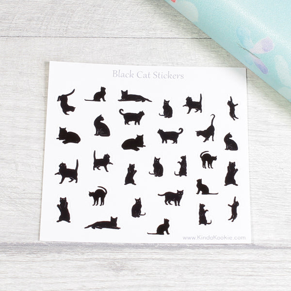 Black Cats Pagan Planner Stickers for Notebooks Diaries and Journals by KindaKookie