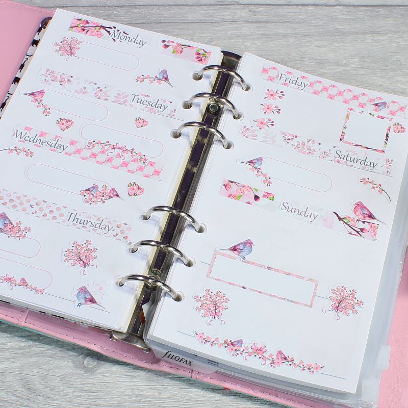 Planner Layout Blossom and Bird Decorative Stickers by KindaKookie