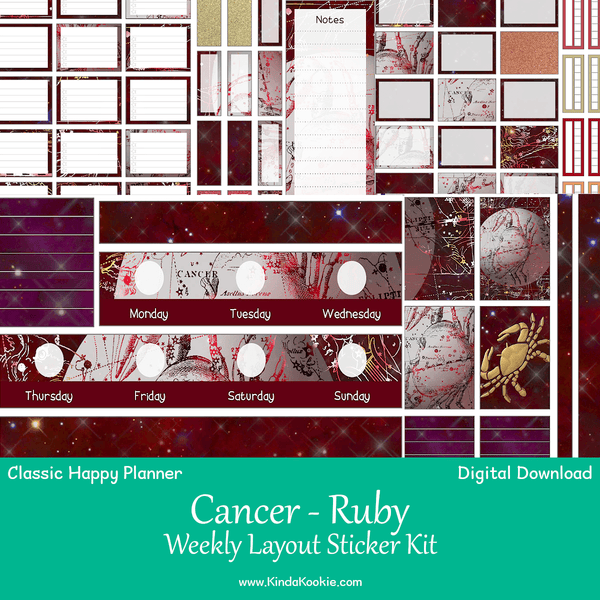 Cancer Ruby Astrology Zodiac Classic Happy Planner Weekly Layout Printable Sticker Kit