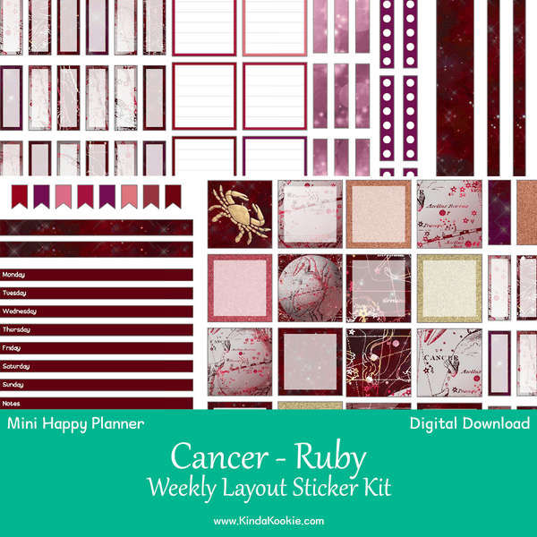 Cancer Ruby Mini Happy Planner Weekly Layout Printable Sticker Kit