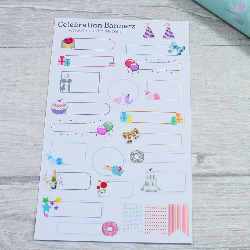 Celebration Banners and Boxes Planner Layout Stickers For Diaries and Journals by KindaKookie