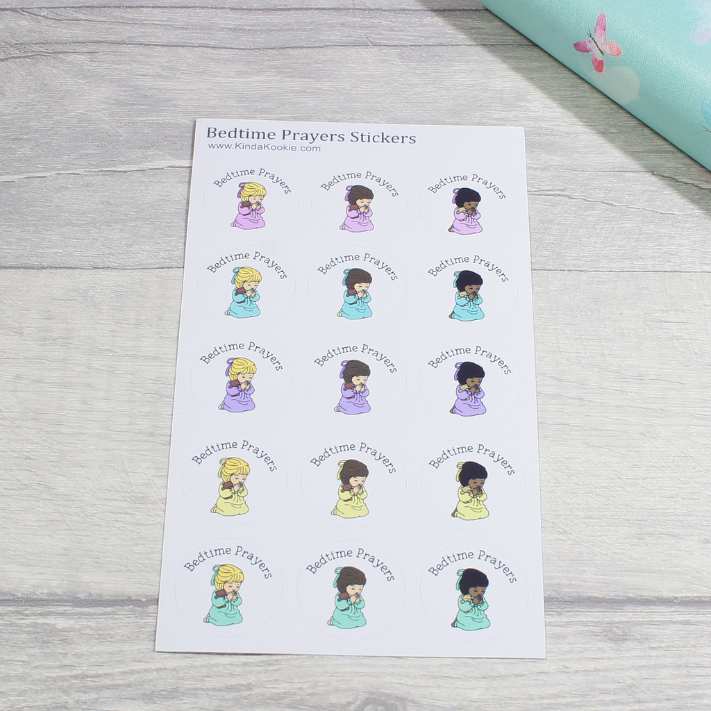 Large Christian Bedtime Prayers Notebook Stationery Reward Planner Stickers by KindaKookie