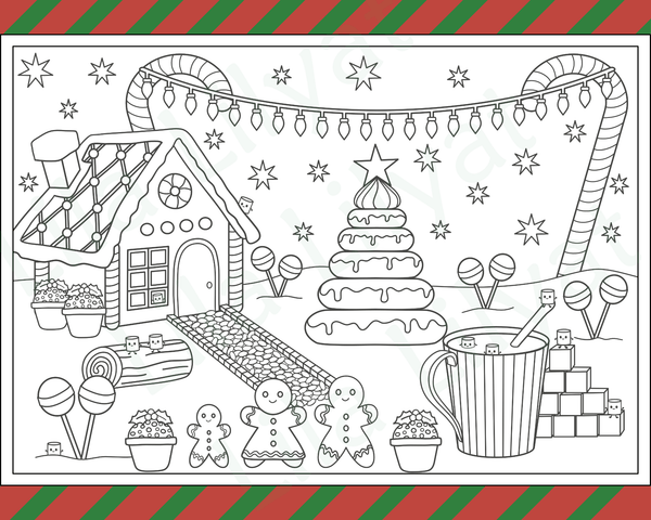 Mini Marshmallows at the Gingerbread House in Hot Chocolate Hot Tub Colouring Page