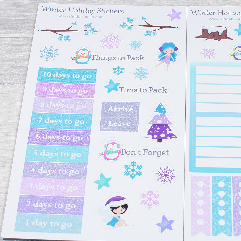 Christmas Holiday Countdown Winter Fairy Snowflake Journal Diary Planner Stickers