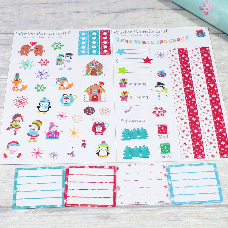 Winter Wonderland Christmas Diary Journal Planner Layout Stickers by KindaKookie