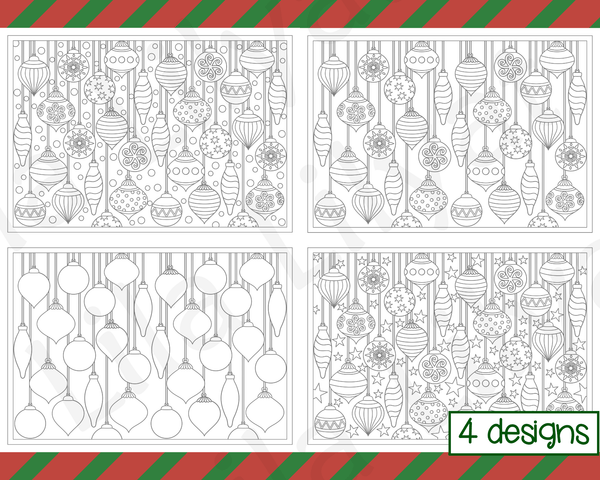 Christmas Coloring Pages - Decorative bauble and christmas tree ornaments with a range of different backgrounds.