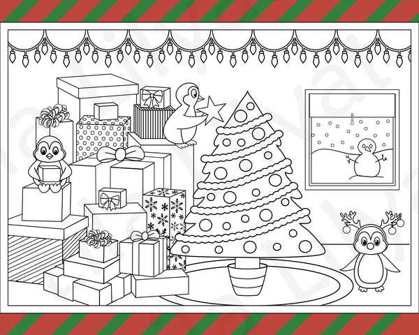 Penguin Christmas Tree Children's or Adult Coloring Page by Lila Lilyat