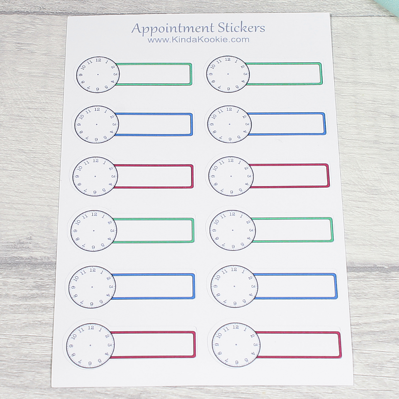 Bold Red Green Blue Appointment Meeting Clock Banner Notebook Diary Journal Planner Stickers by KindaKookie