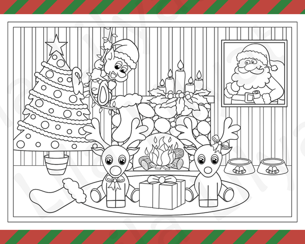 Christmas Colouring Page. Rudolph, Santa, Naughty Elf, Christmas Tree and Fireplace.