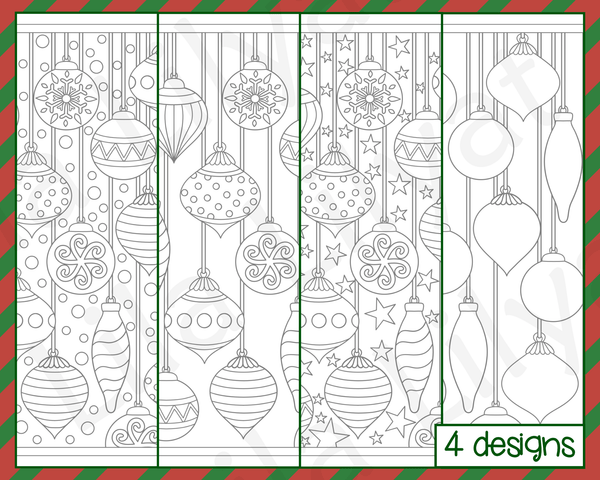 Christmas Colouring Pages - Ornaments and baubles with a choice of snow, starry or plain backgrounds.