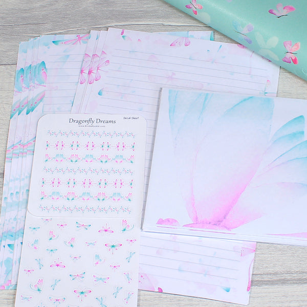 Dragonfly Dreams Lined A5 Writing Paper and Sticker Sheets Set by KindaKookie