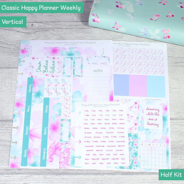 Dragonfly Dreams Classic Happy Planner Weekly Layout Stickers Kit Half Kit by KindaKookie