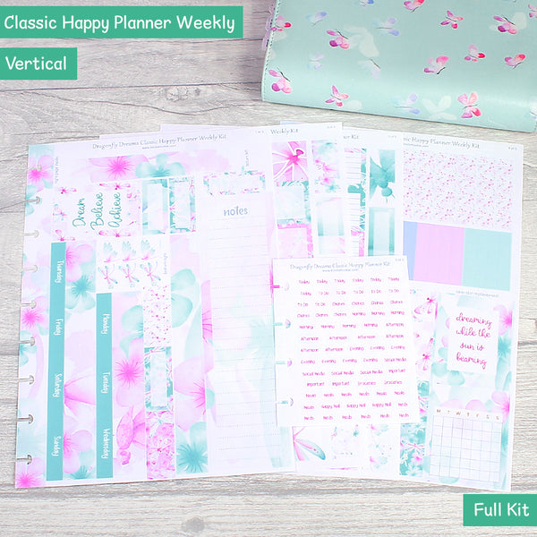 Dragonfly Dreams Classic Happy Planner Weekly Layout Sticker Kit by KindaKookie