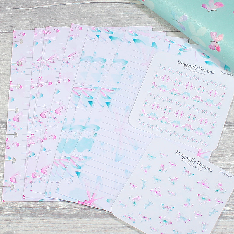 Mini Happy Planner Dragonfly Dreams Note Paper and Sticker Sheets by KindaKookie