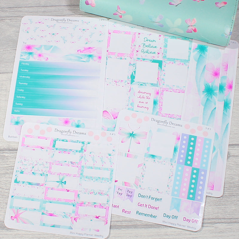 Dragonfly Dreams Mini Happy Planner Weekly Layout Sticker Kit by KindaKookie