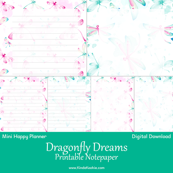 Dragonfly Dreams Notepaper Mini Happy Planner Printable Inserts