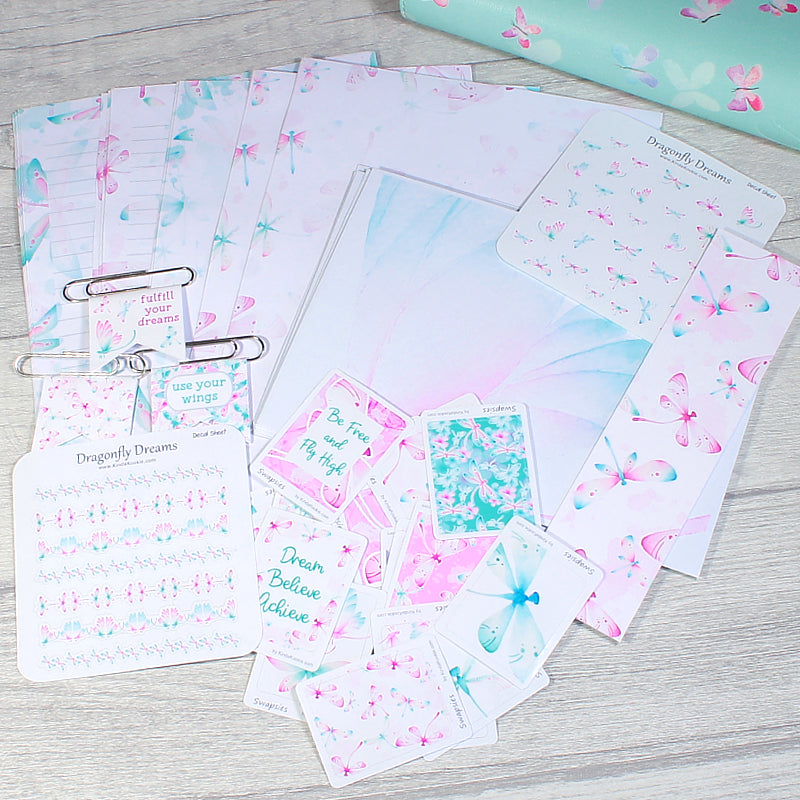 Dragonfly Dreams Penpal Happy Mail Pocket Letter Stickers and Stationery Bundle by KindaKookie